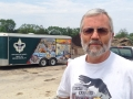 Bruce with support trailer in background