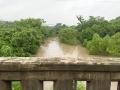 Swollen San Antonio River in Goliad.